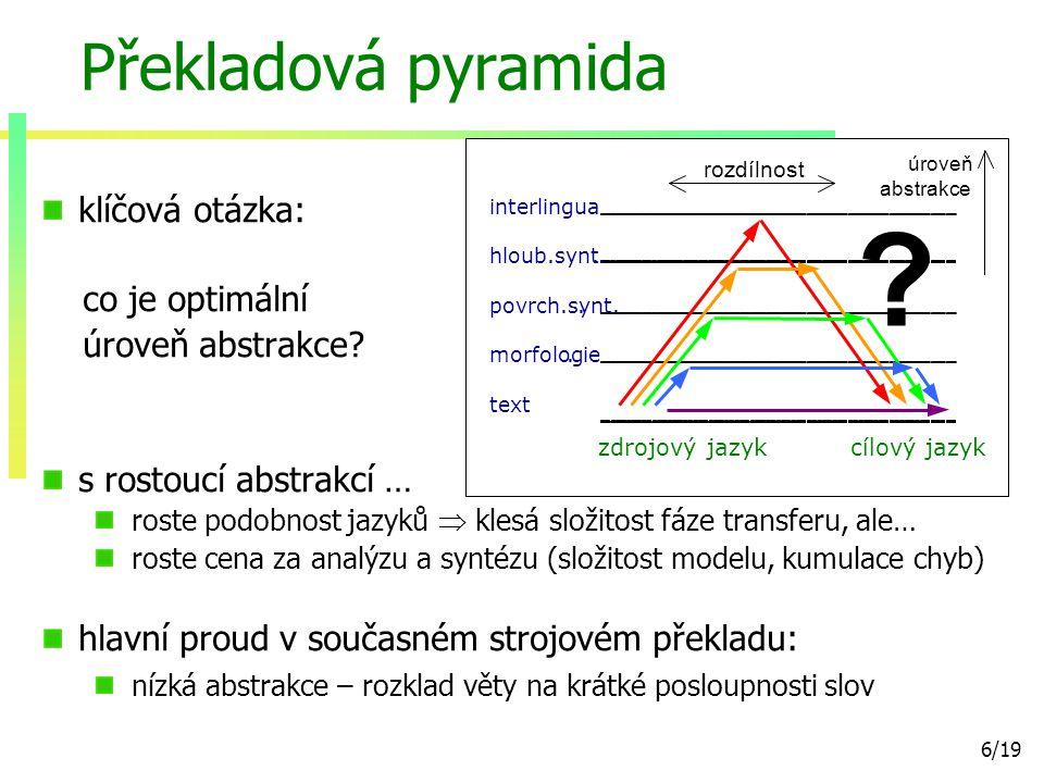 7/19 Roviny popisu jazyka podle PZK přejímáme roviny z Pražského závislostního korpusu 2.0 50.000 ručně analyzovaných vět [Hajič et al., 2006] anotační scénář vychází z teorie Funkčního generativního popisu [Sgall, 1964] [Sgall et al., 1986] tři roviny lingvistické analýzy rovina hloubkové syntaxe (tektogramatika) rovina povrchové syntaxe morfologická rovina