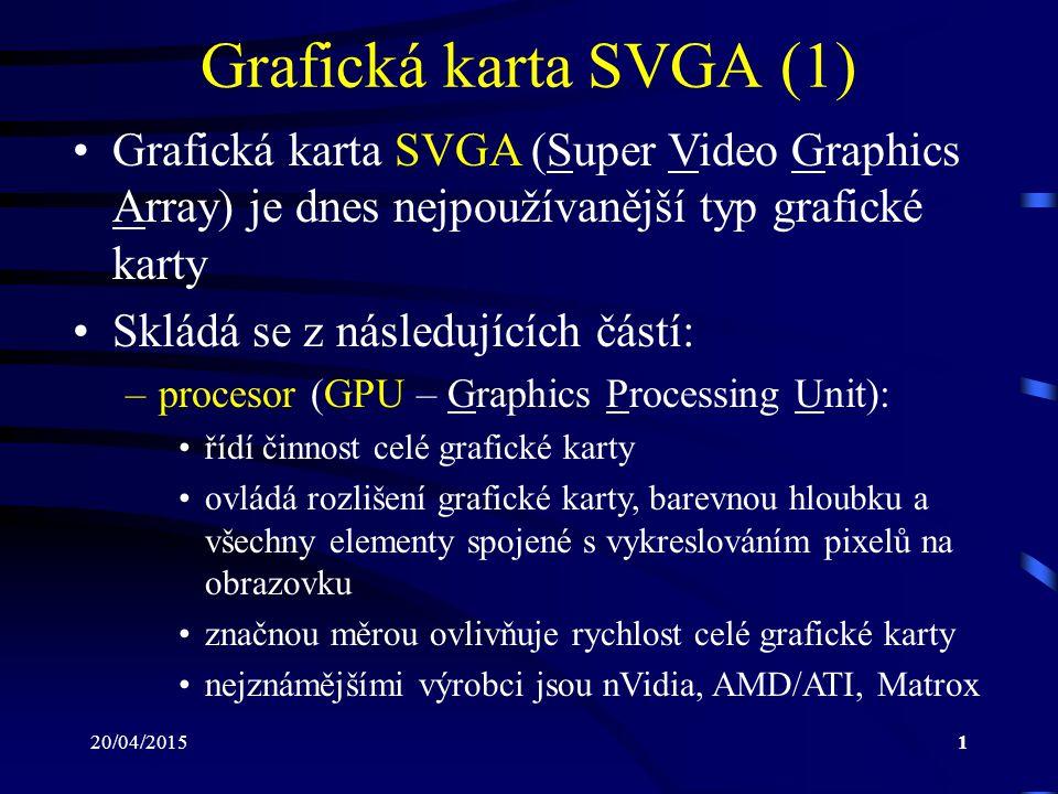 20/04/20151 Grafická karta SVGA (1) Grafická karta SVGA (Super Video Graphics Array) je dnes nejpoužívanější typ grafické karty Skládá se z následujíc
