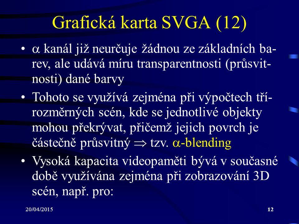 20/04/201512 Grafická karta SVGA (12)  kanál již neurčuje žádnou ze základních ba- rev, ale udává míru transparentnosti (průsvit- nosti) dané barvy T