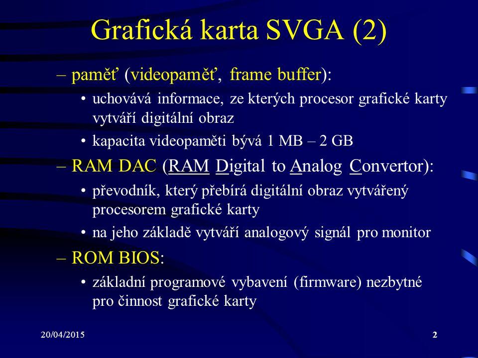 20/04/20152 Grafická karta SVGA (2) –paměť (videopaměť, frame buffer): uchovává informace, ze kterých procesor grafické karty vytváří digitální obraz