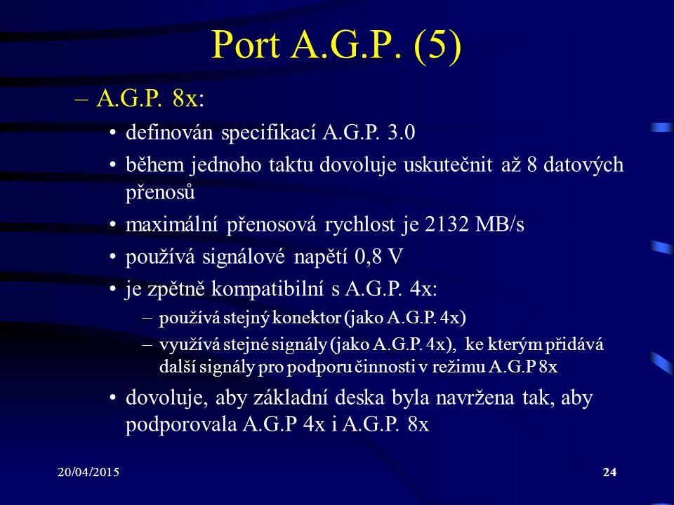 20/04/201524 Port A.G.P. (5) –A.G.P. 8x: definován specifikací A.G.P. 3.0 během jednoho taktu dovoluje uskutečnit až 8 datových přenosů maximální přen