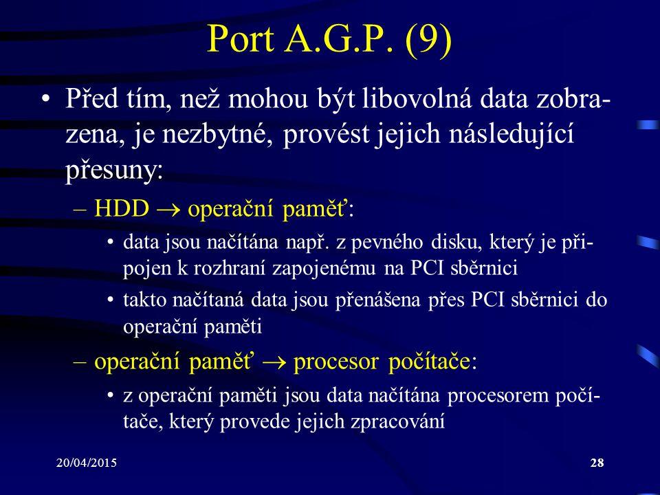 20/04/201528 Port A.G.P. (9) Před tím, než mohou být libovolná data zobra- zena, je nezbytné, provést jejich následující přesuny: –HDD  operační pamě