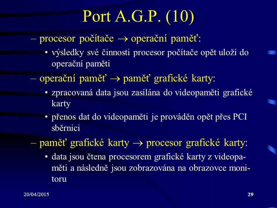 20/04/201529 Port A.G.P. (10) –procesor počítače  operační paměť: výsledky své činnosti procesor počítače opět uloží do operační paměti –operační pam