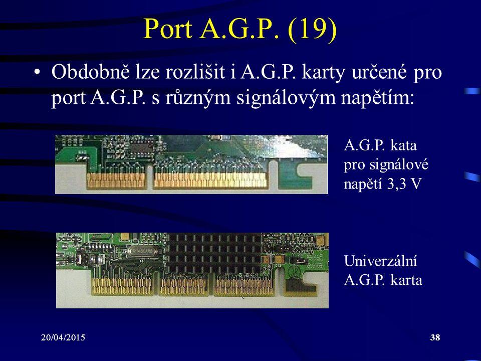 20/04/201538 Port A.G.P. (19) Obdobně lze rozlišit i A.G.P. karty určené pro port A.G.P. s různým signálovým napětím: A.G.P. kata pro signálové napětí