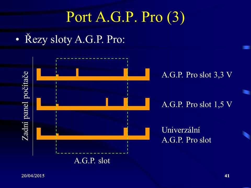 20/04/201541 Port A.G.P. Pro (3) Řezy sloty A.G.P. Pro: A.G.P. Pro slot 3,3 V A.G.P. Pro slot 1,5 V Univerzální A.G.P. Pro slot Zadní panel počítače A