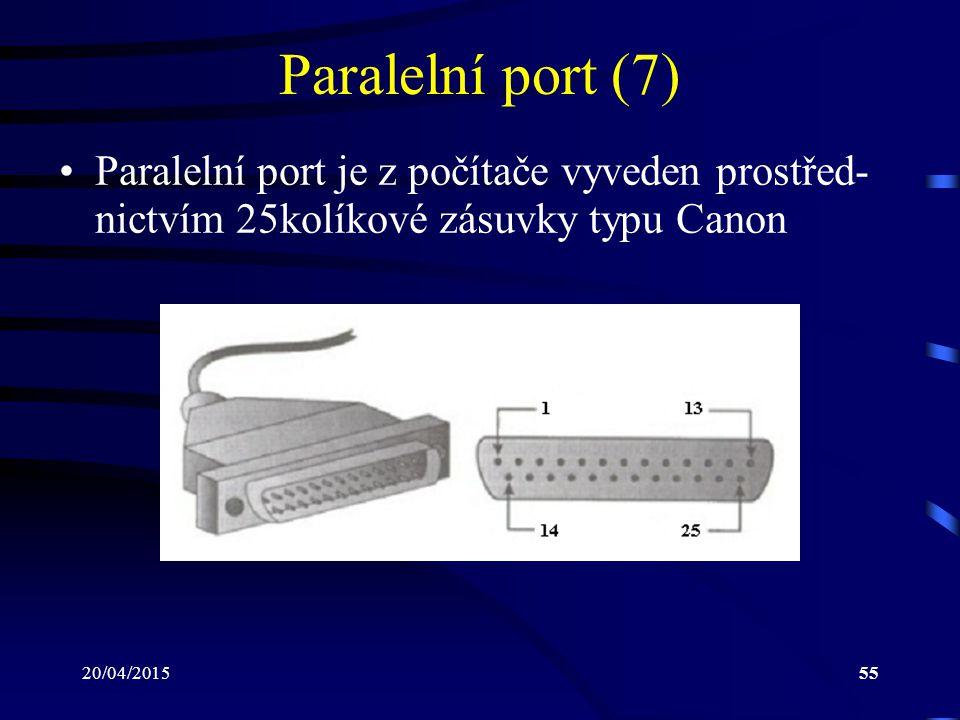 20/04/201555 Paralelní port (7) Paralelní port je z počítače vyveden prostřed- nictvím 25kolíkové zásuvky typu Canon