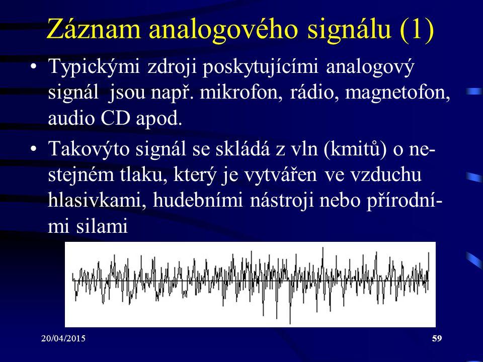 20/04/201559 Záznam analogového signálu (1) Typickými zdroji poskytujícími analogový signál jsou např. mikrofon, rádio, magnetofon, audio CD apod. Tak