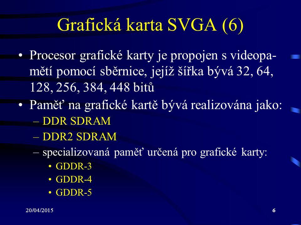 20/04/20156 Grafická karta SVGA (6) Procesor grafické karty je propojen s videopa- mětí pomocí sběrnice, jejíž šířka bývá 32, 64, 128, 256, 384, 448 b