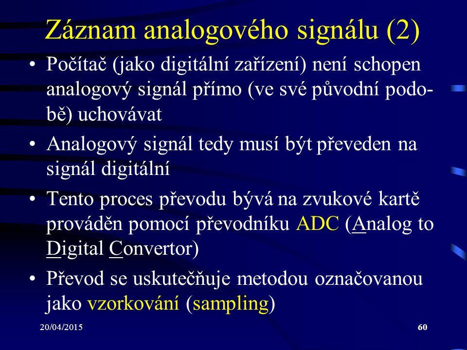 20/04/201560 Záznam analogového signálu (2) Počítač (jako digitální zařízení) není schopen analogový signál přímo (ve své původní podo- bě) uchovávat