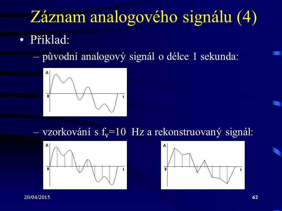 20/04/201562 Záznam analogového signálu (4) Příklad: –původní analogový signál o délce 1 sekunda: –vzorkování s f v =10 Hz a rekonstruovaný signál: