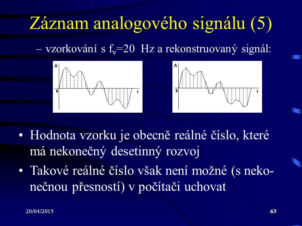 20/04/201563 Záznam analogového signálu (5) –vzorkování s f v =20 Hz a rekonstruovaný signál: Hodnota vzorku je obecně reálné číslo, které má nekonečn