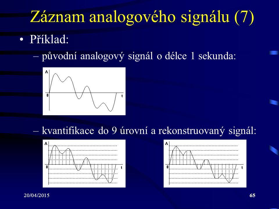 20/04/201565 Záznam analogového signálu (7) Příklad: –původní analogový signál o délce 1 sekunda: –kvantifikace do 9 úrovní a rekonstruovaný signál: