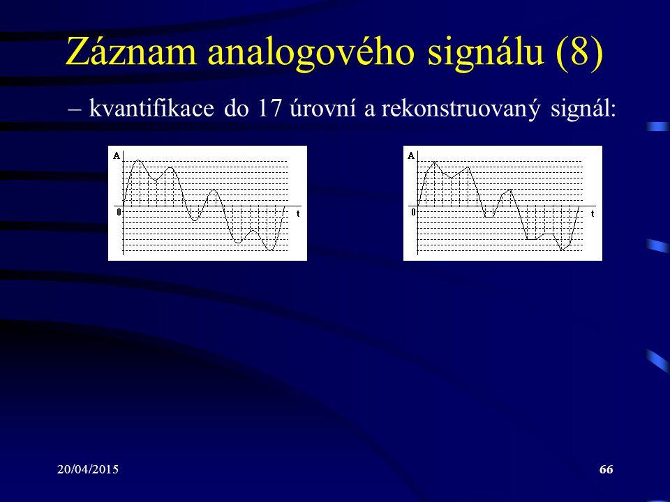 20/04/201566 Záznam analogového signálu (8) –kvantifikace do 17 úrovní a rekonstruovaný signál: