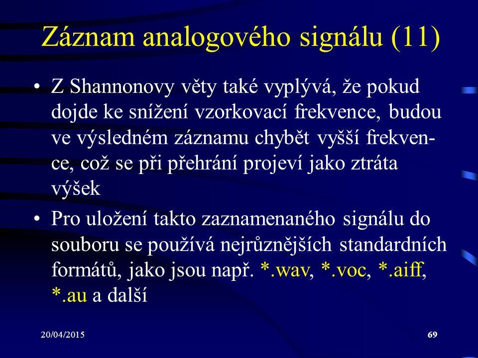 20/04/201569 Záznam analogového signálu (11) Z Shannonovy věty také vyplývá, že pokud dojde ke snížení vzorkovací frekvence, budou ve výsledném záznam