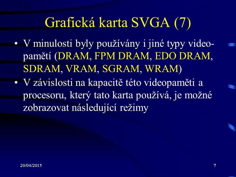 20/04/20157 Grafická karta SVGA (7) V minulosti byly používány i jiné typy video- pamětí (DRAM, FPM DRAM, EDO DRAM, SDRAM, VRAM, SGRAM, WRAM) V závisl