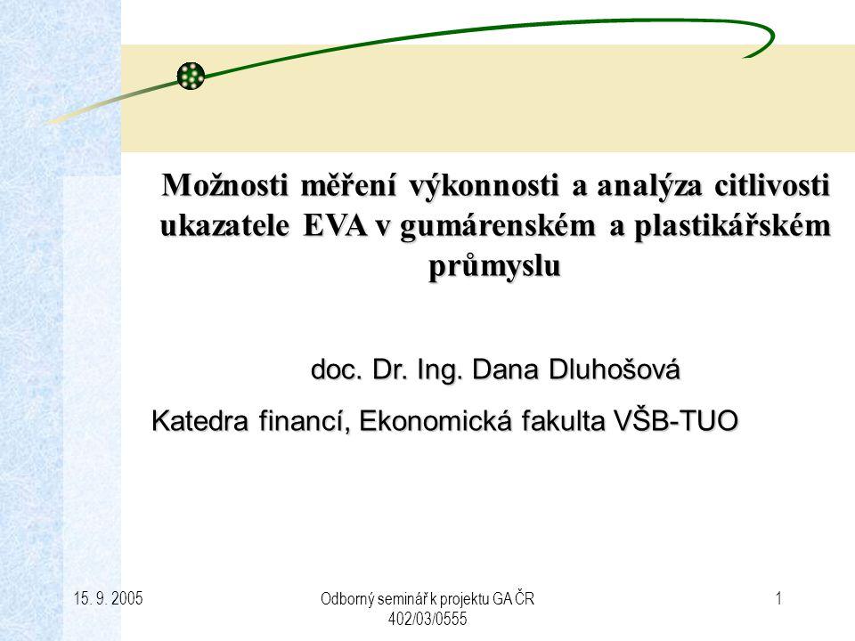 15. 9. 2005Odborný seminář k projektu GA ČR 402/03/0555 1 Možnosti měření výkonnosti a analýza citlivosti ukazatele EVA v gumárenském a plastikářském