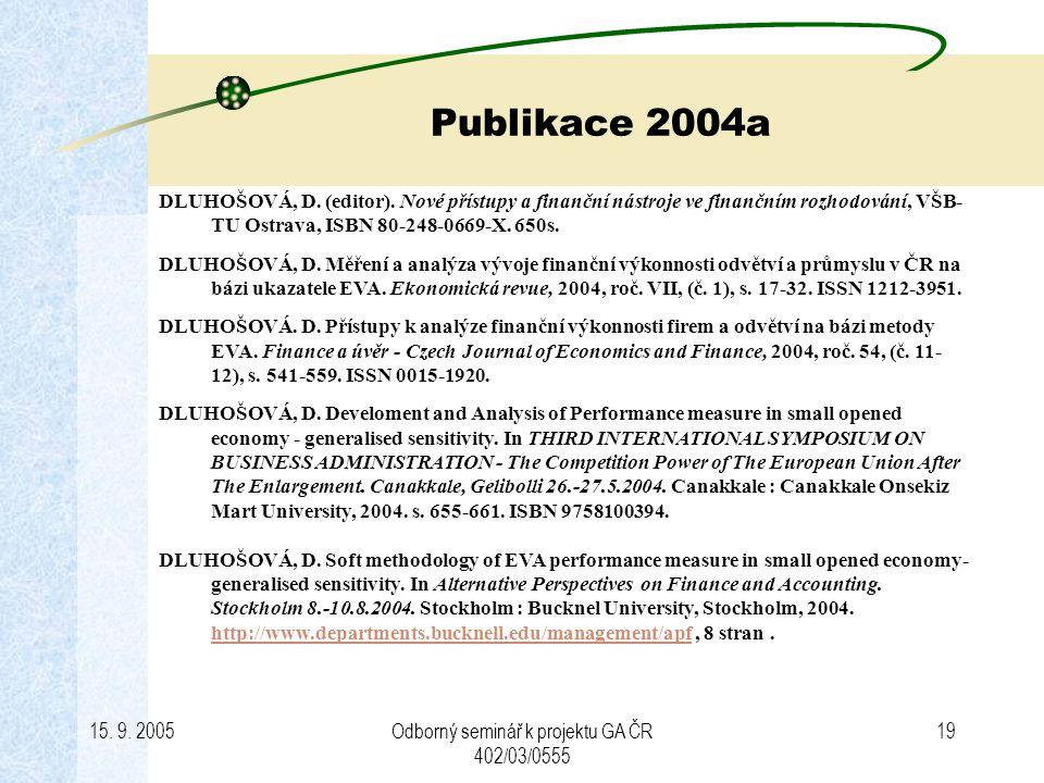 15. 9. 2005Odborný seminář k projektu GA ČR 402/03/0555 19 Publikace 2004a DLUHOŠOVÁ, D. (editor). Nové přístupy a finanční nástroje ve finančním rozh
