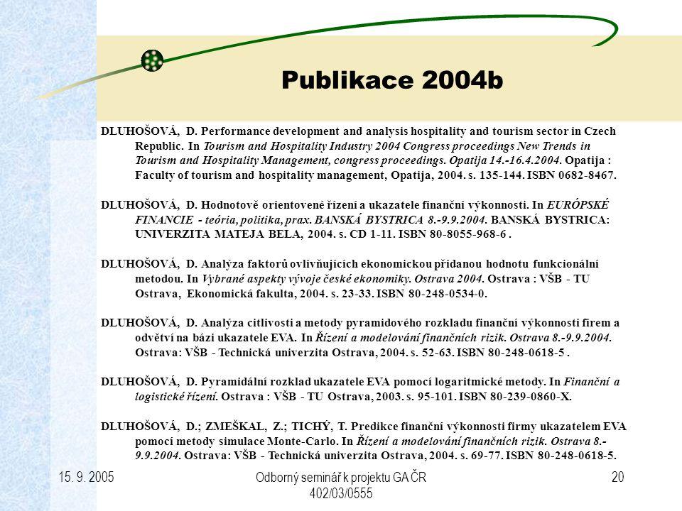 15.9. 2005Odborný seminář k projektu GA ČR 402/03/0555 20 Publikace 2004b DLUHOŠOVÁ, D.