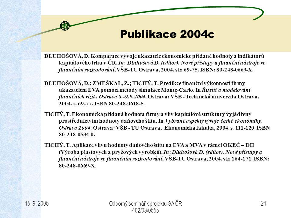 15.9. 2005Odborný seminář k projektu GA ČR 402/03/0555 21 Publikace 2004c DLUHOŠOVÁ, D.
