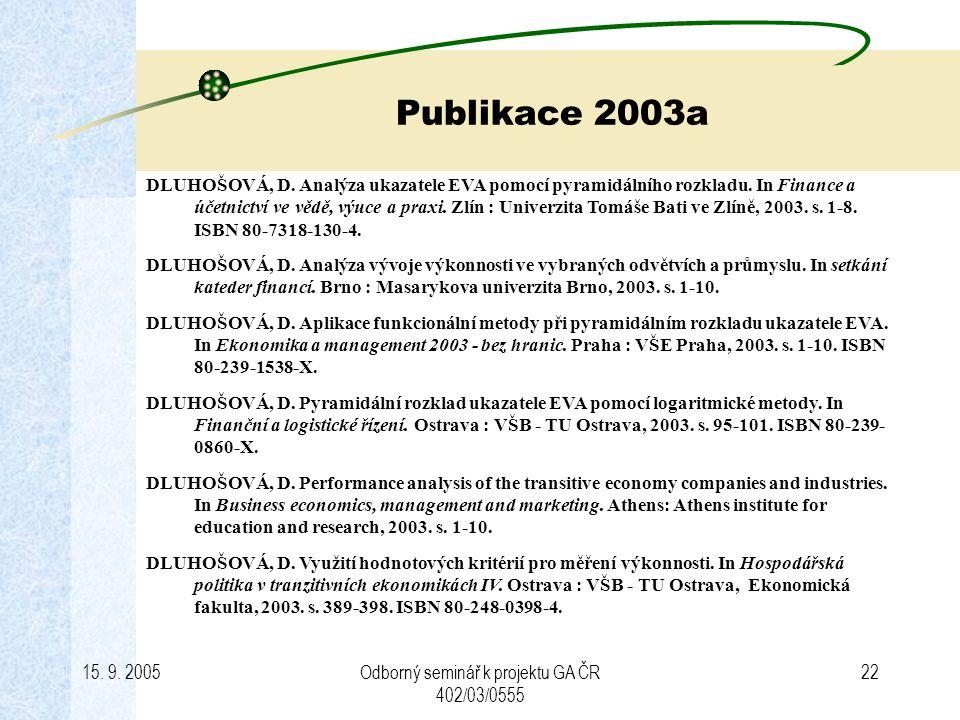 15. 9. 2005Odborný seminář k projektu GA ČR 402/03/0555 22 Publikace 2003a DLUHOŠOVÁ, D. Analýza ukazatele EVA pomocí pyramidálního rozkladu. In Finan