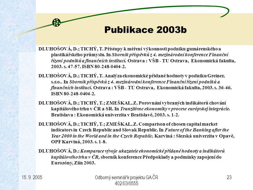 15. 9. 2005Odborný seminář k projektu GA ČR 402/03/0555 23 Publikace 2003b DLUHOŠOVÁ, D.; TICHÝ, T. Přístupy k měření výkonnosti podniku gumárenského