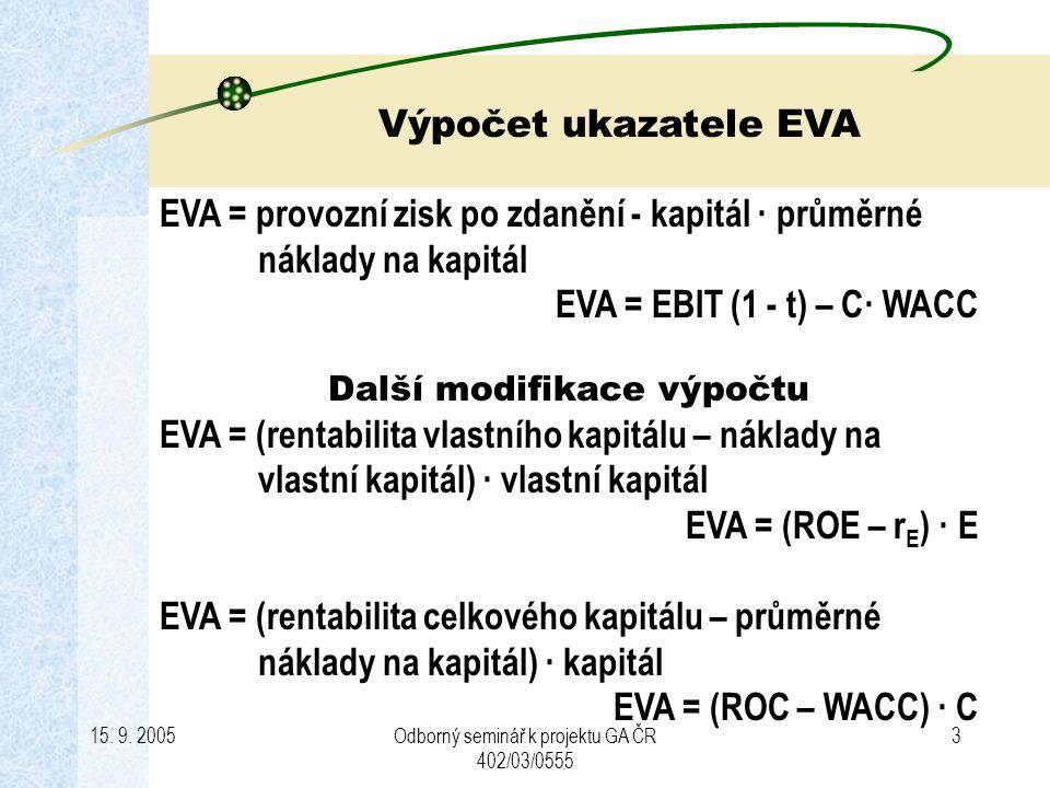 15. 9. 2005Odborný seminář k projektu GA ČR 402/03/0555 3 EVA = provozní zisk po zdanění - kapitál · průměrné náklady na kapitál EVA = EBIT (1 - t) –