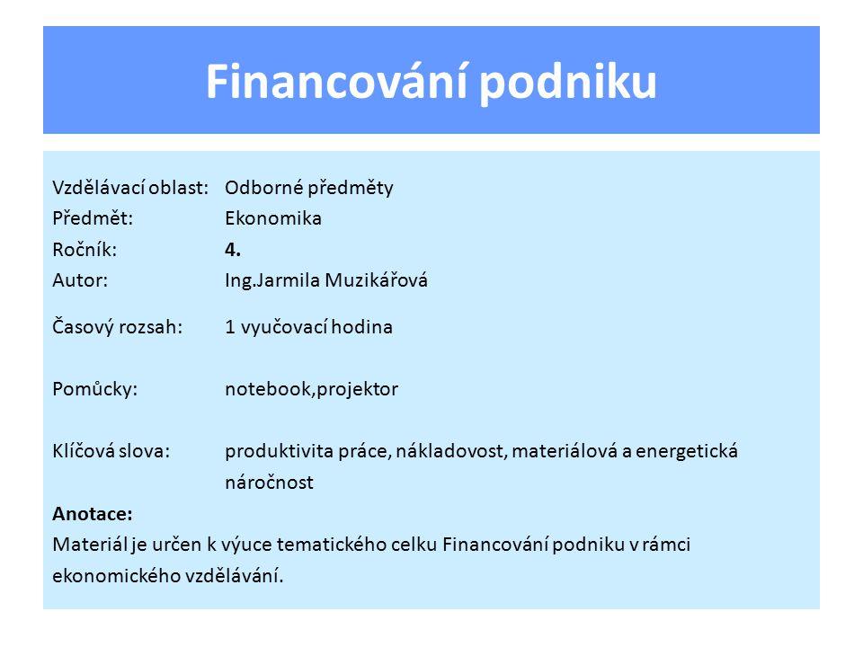 Financování podniku Vzdělávací oblast:Odborné předměty Předmět:Ekonomika Ročník:4.
