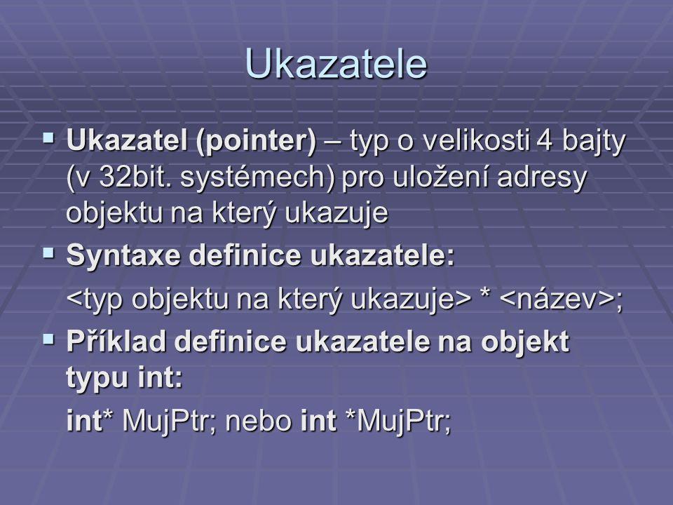 Ukazatele  Ukazatel (pointer) – typ o velikosti 4 bajty (v 32bit.
