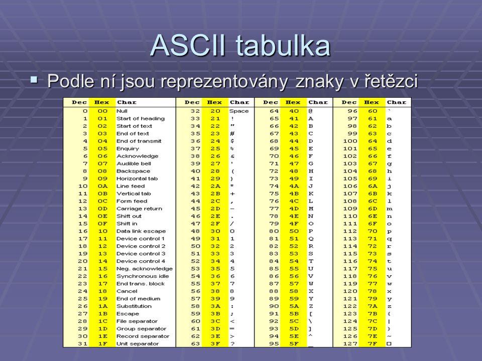 ASCII tabulka  Podle ní jsou reprezentovány znaky v řetězci