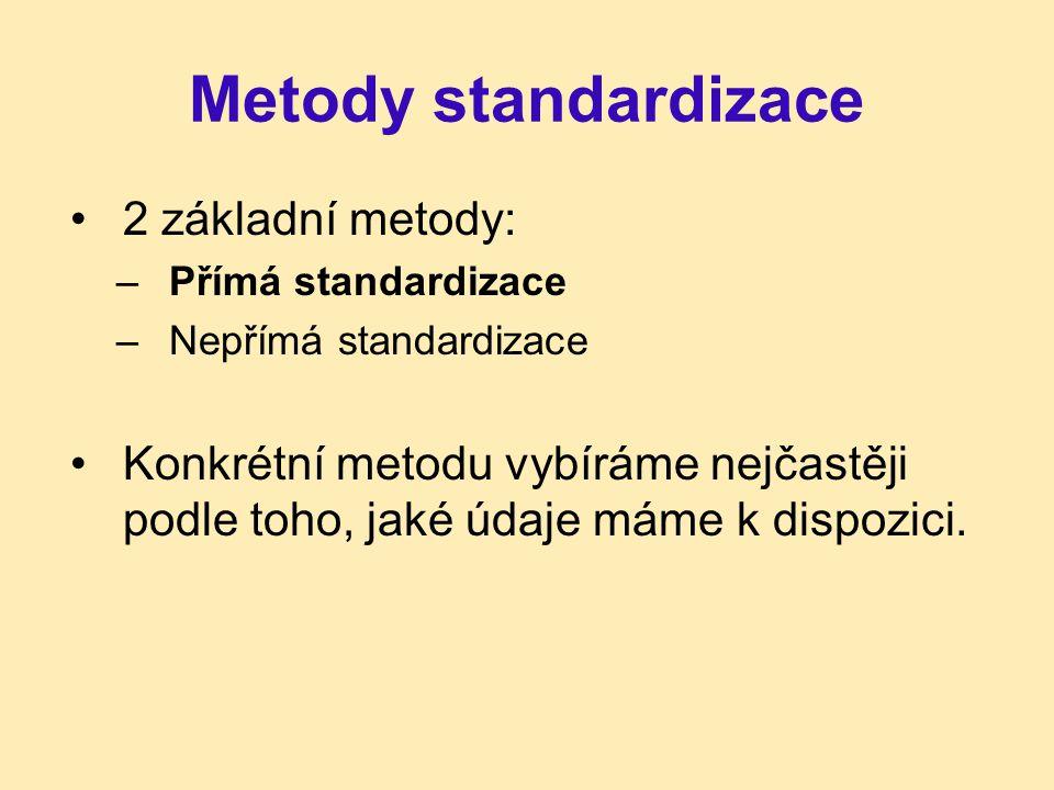 Metody standardizace 2 základní metody: –Přímá standardizace –Nepřímá standardizace Konkrétní metodu vybíráme nejčastěji podle toho, jaké údaje máme k