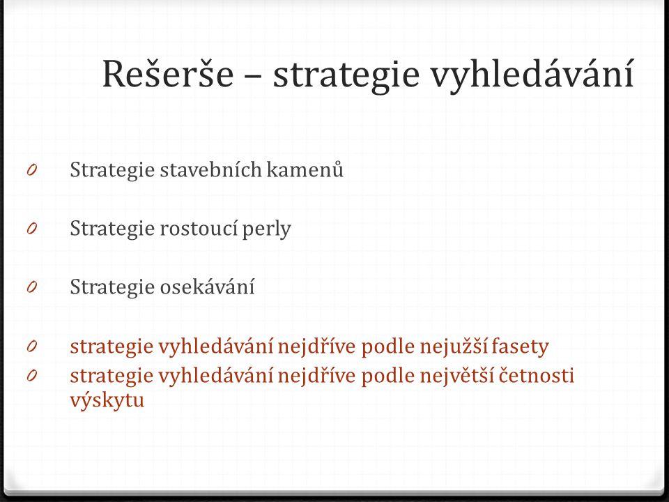 Rešerše – strategie vyhledávání 0 Strategie stavebních kamenů 0 Strategie rostoucí perly 0 Strategie osekávání 0 strategie vyhledávání nejdříve podle nejužší fasety 0 strategie vyhledávání nejdříve podle největší četnosti výskytu