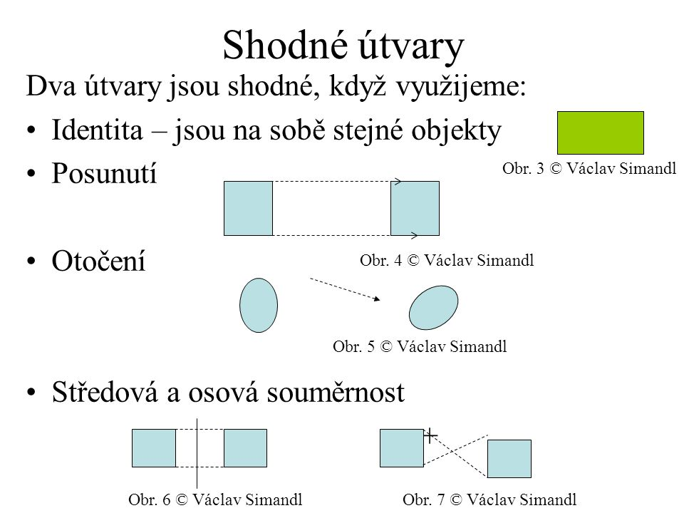 Shodné útvary Dva útvary jsou shodné, když využijeme: Identita – jsou na sobě stejné objekty Posunutí Otočení Středová a osová souměrnost + Obr.