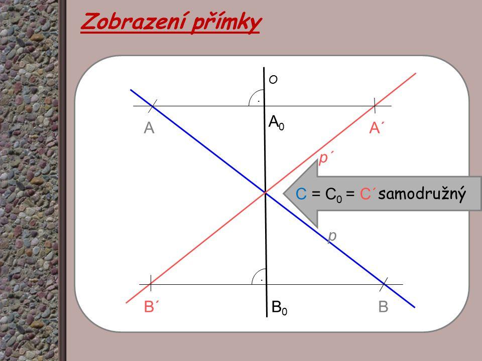O p p΄p΄ AA΄A΄ B΄B΄B.. A0A0 B0B0 Zobrazení přímky C = C 0 = C΄ samodružný