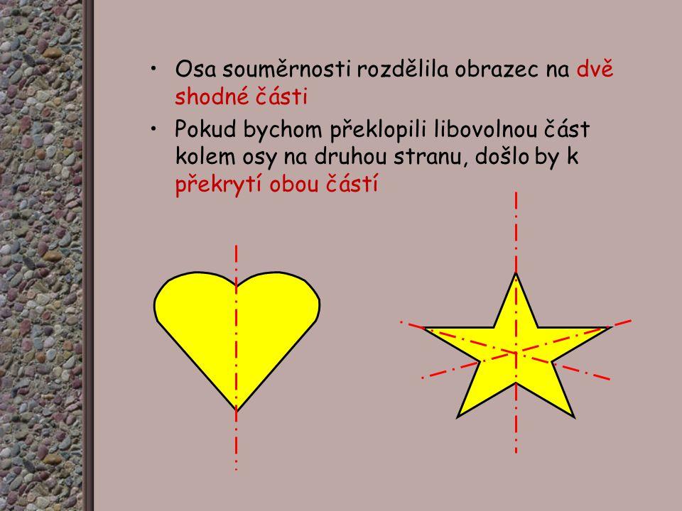 Osa souměrnosti rozdělila obrazec na dvě shodné části Pokud bychom překlopili libovolnou část kolem osy na druhou stranu, došlo by k překrytí obou částí