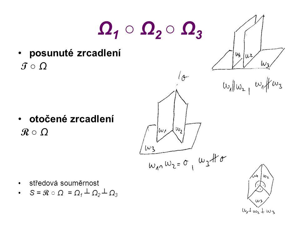 Ω 1 ○ Ω 2 ○ Ω 3 posunuté zrcadlení T ○ Ω otočené zrcadlení R ○ Ω středová souměrnost S = R ○ Ω = Ω 1 ┴ Ω 2 ┴ Ω 3