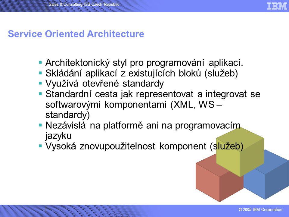 © 2005 IBM Corporation Sales & Consulting IGS Czech Republic Service Oriented Architecture  Architektonický styl pro programování aplikací.  Skládán