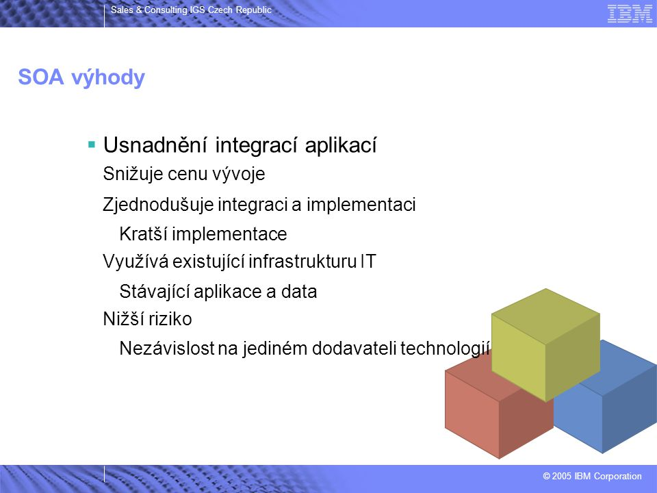 © 2005 IBM Corporation Sales & Consulting IGS Czech Republic SOA výhody  Usnadnění integrací aplikací Snižuje cenu vývoje Zjednodušuje integraci a im