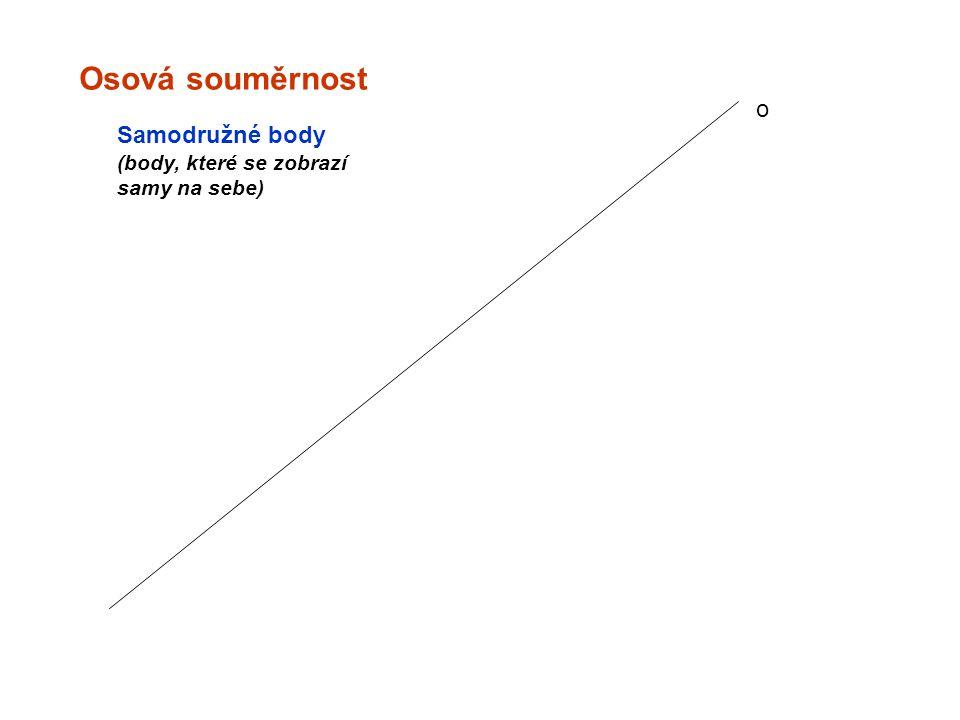 Osová souměrnost o Samodružné body (body, které se zobrazí samy na sebe)