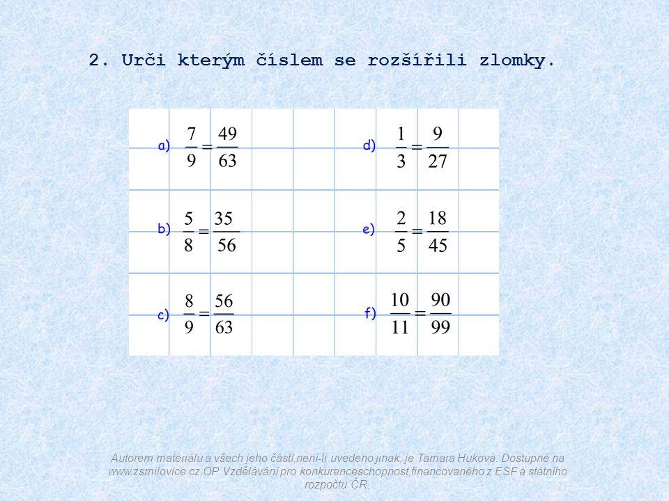 2. Urči kterým číslem se rozšířili zlomky.