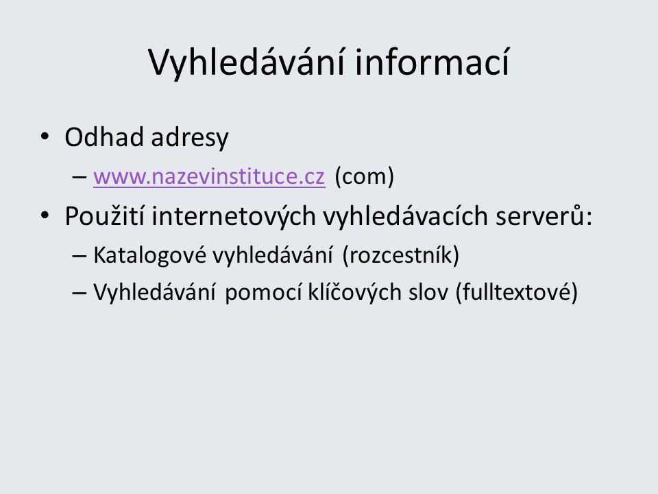 Vyhledávání informací Odhad adresy – www.nazevinstituce.cz (com) www.nazevinstituce.cz Použití internetových vyhledávacích serverů: – Katalogové vyhledávání (rozcestník) – Vyhledávání pomocí klíčových slov (fulltextové)