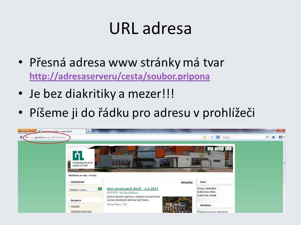 URL adresa Přesná adresa www stránky má tvar http://adresaserveru/cesta/soubor.pripona http://adresaserveru/cesta/soubor.pripona Je bez diakritiky a mezer!!.