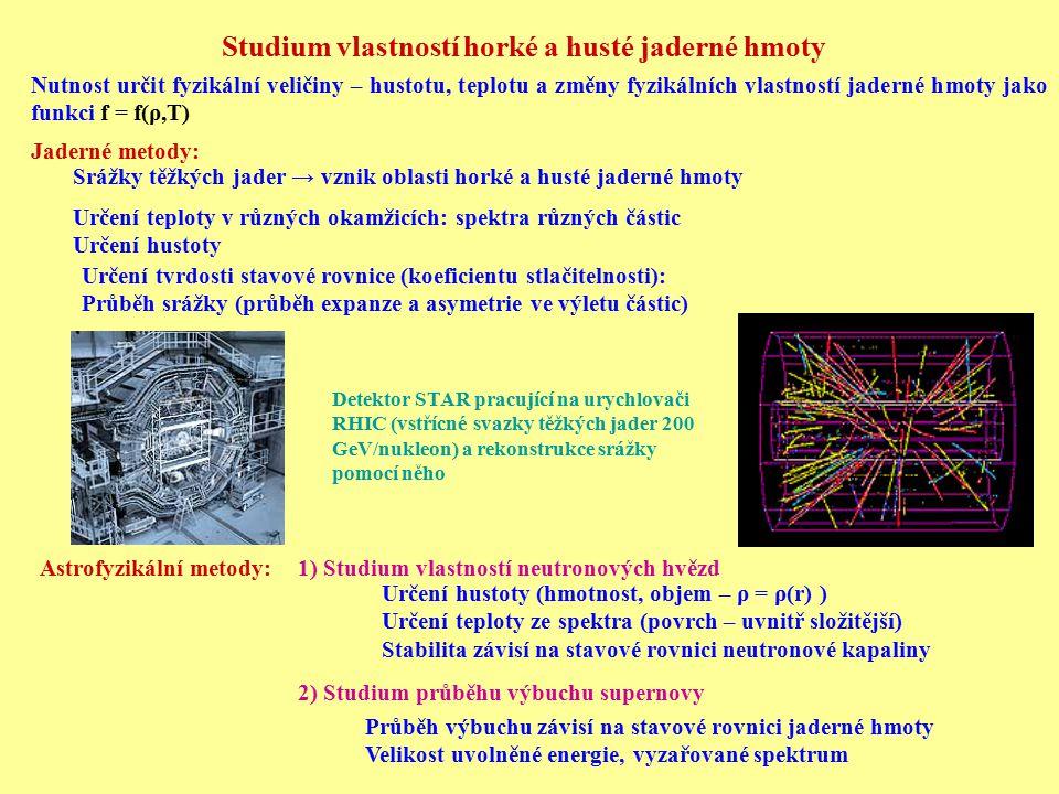 Studium vlastností horké a husté jaderné hmoty Nutnost určit fyzikální veličiny – hustotu, teplotu a změny fyzikálních vlastností jaderné hmoty jako f