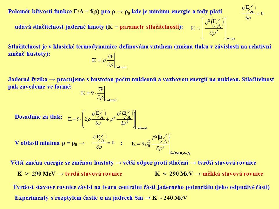 Poloměr křivosti funkce E/A = f(ρ) pro ρ → ρ 0 kde je minimu energie a tedy platí udává stlačitelnost jaderné hmoty (K = parametr stlačitelnosti): Stl