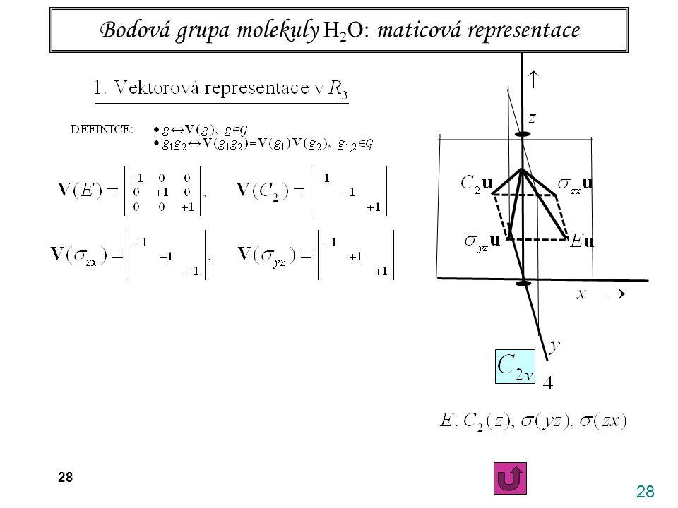 28 26.4. 2006 X. Vibrace víceatomových molekul 28 Bodová grupa molekuly H 2 O: maticová representace