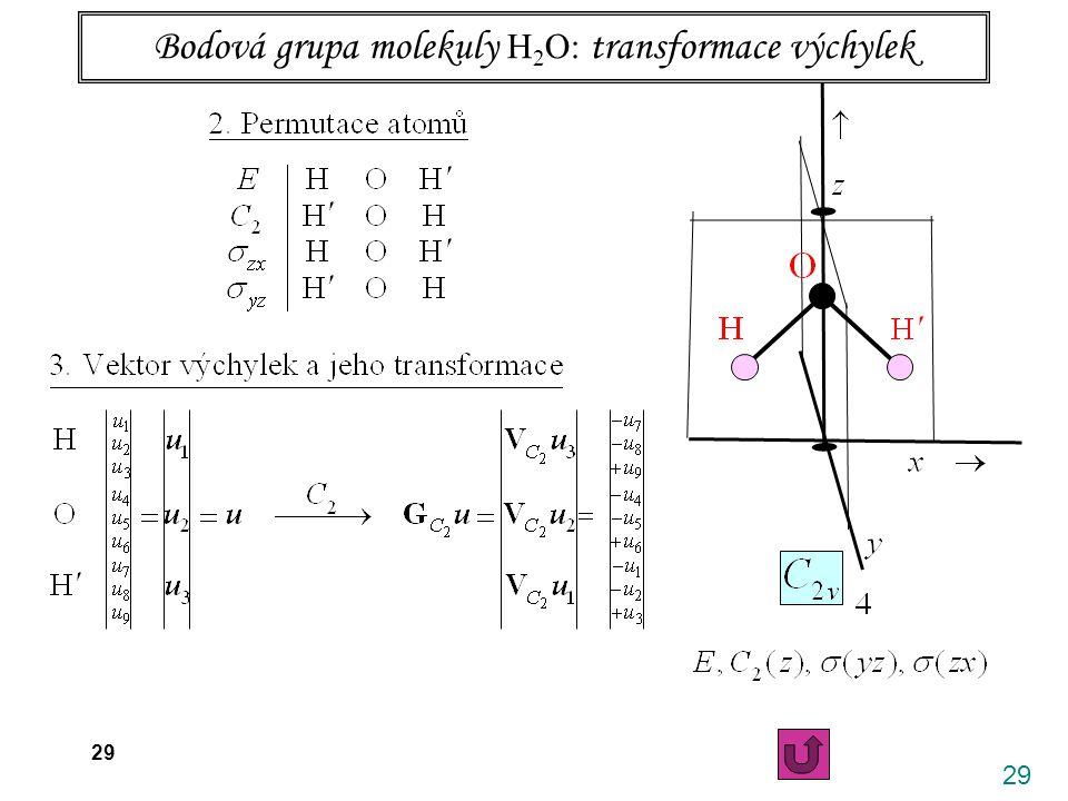 29 26.4. 2006 X. Vibrace víceatomových molekul 29 Bodová grupa molekuly H 2 O: transformace výchylek