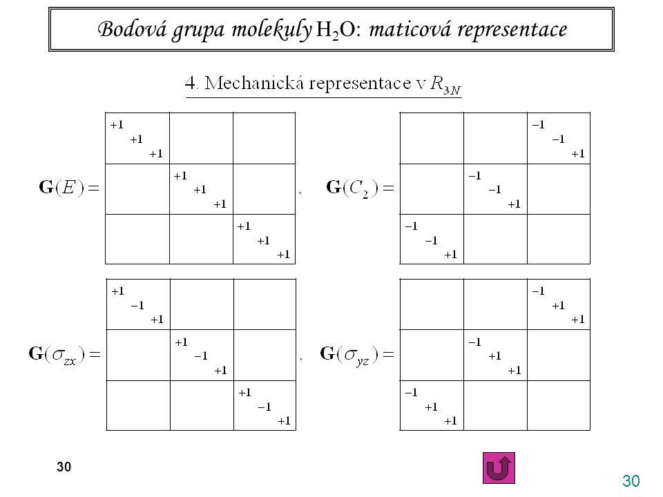 30 26.4. 2006 X. Vibrace víceatomových molekul 30 Bodová grupa molekuly H 2 O: maticová representace