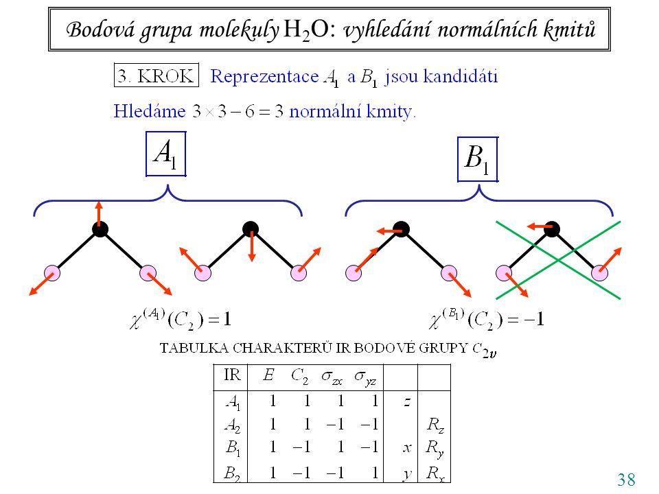 38 Bodová grupa molekuly H 2 O: vyhledání normálních kmitů