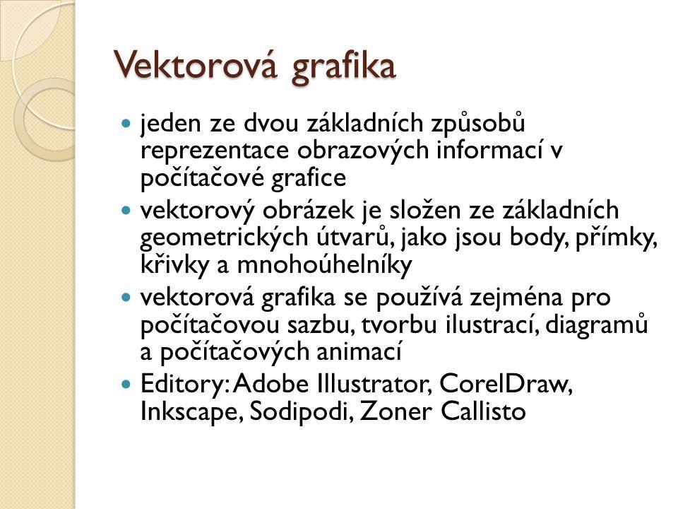 Vektorová grafika jeden ze dvou základních způsobů reprezentace obrazových informací v počítačové grafice vektorový obrázek je složen ze základních geometrických útvarů, jako jsou body, přímky, křivky a mnohoúhelníky vektorová grafika se používá zejména pro počítačovou sazbu, tvorbu ilustrací, diagramů a počítačových animací Editory: Adobe Illustrator, CorelDraw, Inkscape, Sodipodi, Zoner Callisto