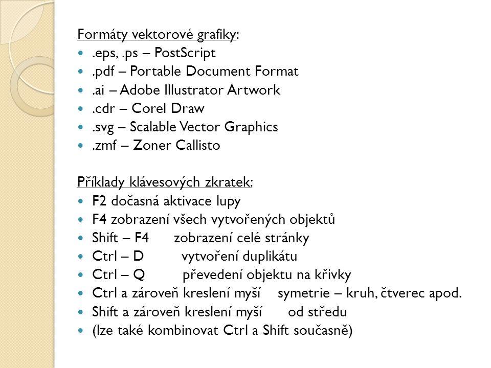 Formáty vektorové grafiky:.eps,.ps – PostScript.pdf – Portable Document Format.ai – Adobe Illustrator Artwork.cdr – Corel Draw.svg – Scalable Vector Graphics.zmf – Zoner Callisto Příklady klávesových zkratek: F2 dočasná aktivace lupy F4 zobrazení všech vytvořených objektů Shift – F4 zobrazení celé stránky Ctrl – D vytvoření duplikátu Ctrl – Q převedení objektu na křivky Ctrl a zároveň kreslení myší symetrie – kruh, čtverec apod.