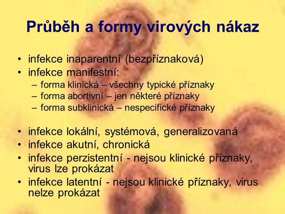 Průběh a formy virových nákaz infekce inaparentní (bezpříznaková) infekce manifestní: –forma klinická – všechny typické příznaky –forma abortivní – je